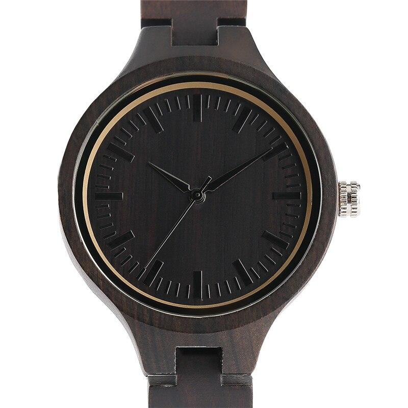 Fashion Handmade Minimalist Full Wooden Quartz Watches Natural Ebony Bamboo Women Wristwatch Ladies Sports Reloj de madera 2017<br>