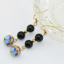 Free shipping original design long dangle earring black agat drop gold-color cloisonne earrings for women charms jewelry B2639(China)