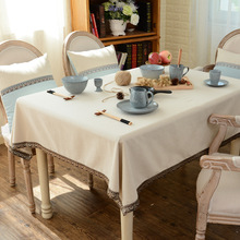 New simple white white blue and white tablecloth cotton linen Japanese style of modern fine lace decorative tablecloth
