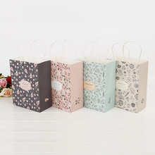 20*15*6cm Pastorale Floral Flower Kraft Paper Gift Bag Festival Paper Bags with Handles Jewellery Wedding Birthday ZA2636(China)