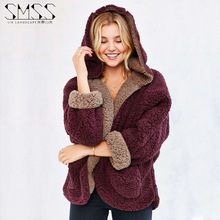 Faux Lamb Wool Coat 2016 Autumn Winter Fashion Fur Jacket Warm Solid Reversible Hooded Garment