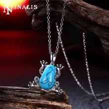 2017 Cute Frog Design Natural Turquoises Stone Pendant Necklaces Vintage White Gold Color Chain Necklace Women's Fashion Jewelry(China)