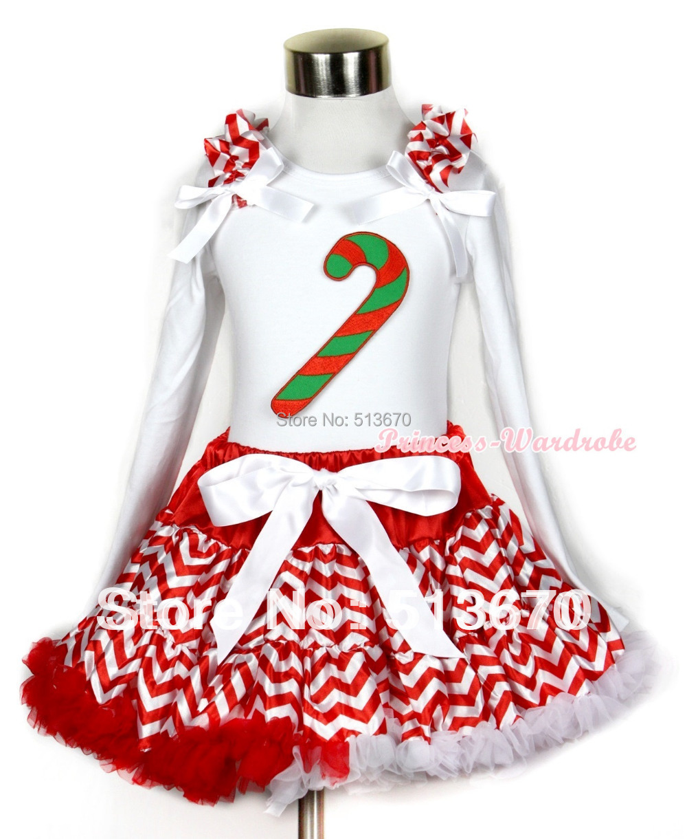 Xmas Red White Wave Pettiskirt with Christmas Stick Print White Long Sleeve Top with Red White Wave Ruffles White Bow MAMW263<br>
