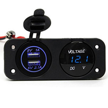 2017 New 12V Dual USB Charger Adapter Blue LED Digital Display Voltmeter Panel Socket Mount Waterproof for Automotive Car Boat(China)