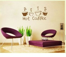 Wall Decal Sticker Quote Vinyl Art LetteringCreative  Decorative Hot Coffee Wallpaper Wall Stickers Home Decor Kitchen Sticker