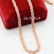5mm 20inch 24inch Mens Womens Accessories Solid Rose Gold Color Filled Link Chain Necklace Jewelry Fashion NEW