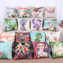 1Pcs Scenery Pattern Cotton Linen Throw Pillow Cushion Cover Seat Car Home Decoration Sofa Bed Decor Decorative Pillowcase 40016