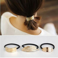 Simple temperament metal feathers hair accessories female Korean version of the hair head rubber band head rope hair band headdr(China)