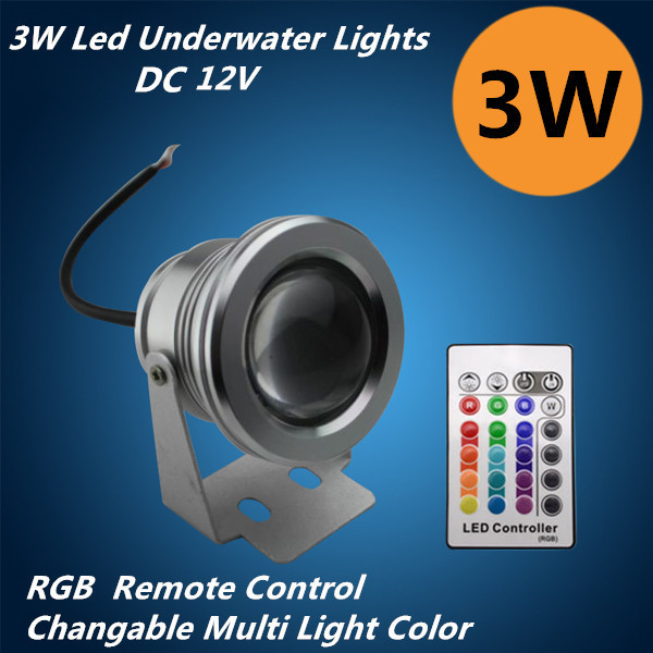Romantic Led Underwater Lights Changeable Light Colors Remote Control Button Cell Long Life 3W Circular Aluminum Body Rustproof<br>