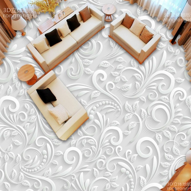 Free shipping photo floor bathroom thickened custom living room stereoscopic wallpaper flooring 3D paper cut pattern floor<br>