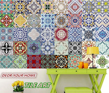 Lot of 10pcs Mediterranean style Self Adhesive Tile Art Wall Decal Sticker DIY Kitchen Bathroom Home Decor Vinyl A