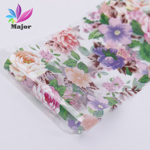 Nail Art Transfer Foils Stickers Sexy Purple Flower Green LeafNail Decals,Nail Tips Accessory Decoration Tool JQ19(China)