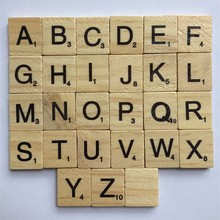 Children Boys Girls 100pc/pack New Wooden Puzzle Box Alphabet Scrabble Tiles Letters Jigsaw Puzzle Squares Crafts Wood Toys