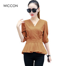 Sexy V Neck Blouses New Fashion Women Shirt Ladies Tops Ruffles Design Waist Long Sleeve Blouse cheap clothes china WICCON(China)