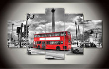 Painting By Numbers 5 Panels British Bus Landscape Hd Canvas Print Painting Modern Home Wall Decor Art Picture Paint On F/1117