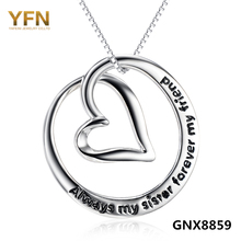 GNX8859 Genuine 925 Sterling Silver Heart Pendant Necklace Always Sisters Forever Friends Love Jewelry Necklace For Women