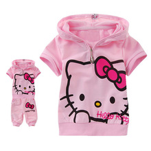 Retail-Kid suit 3 color children short sleeve shirt set, hello kitty girl Sport suits Baby suit hot pink, Free Shipping
