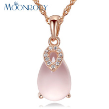 MOONROCY Free Shipping Fashion Jewelry Ross Quartz CZ Crystal Pink Opal Waterdrop Pendant Necklace Choker for Women Girls Gift