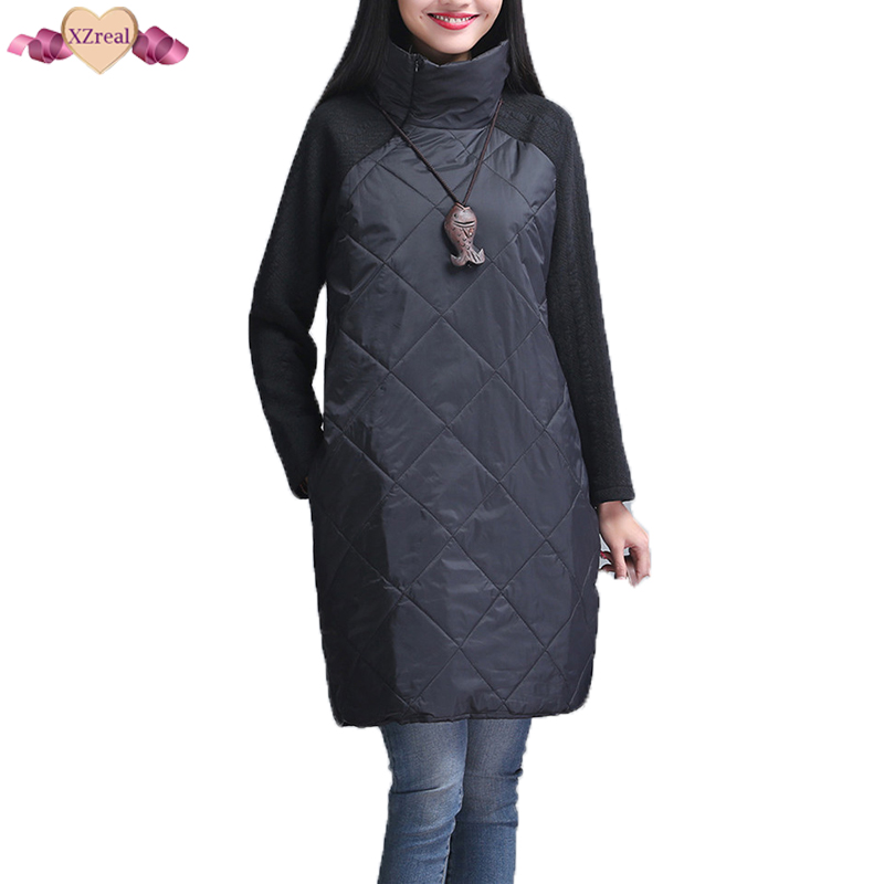 Plus Size Women Autumn Winter Dress Long Sleeve Turtleneck Casual Loose Patchwork Robe Cotton Soft Black Gray Tunic Dress Z3D331