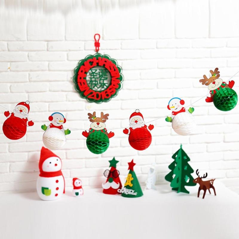 Christmas Decorations Santa Claus Snowman Paper Lanterns Honeycomb Ball Party Paper Pull Flowers Xmas Decorations For Home 15(China)