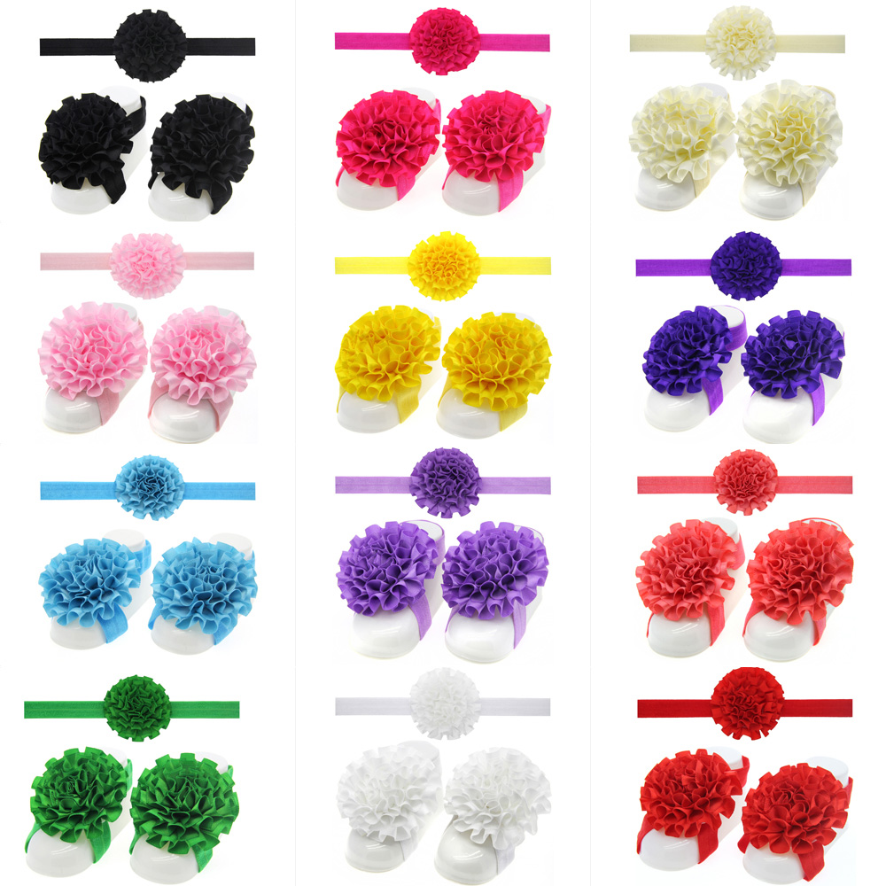 Newborn pure color flower headband set Elastic hair band  Barefoot Foot girl shoes picture prop<br><br>Aliexpress