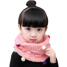Autumn Winter Children Scarf Baby Girl Boy Cotton Knit Scarves O Ring Lovely Kids Colorful Ball Collars Child Fashion Ring Scarf(China)