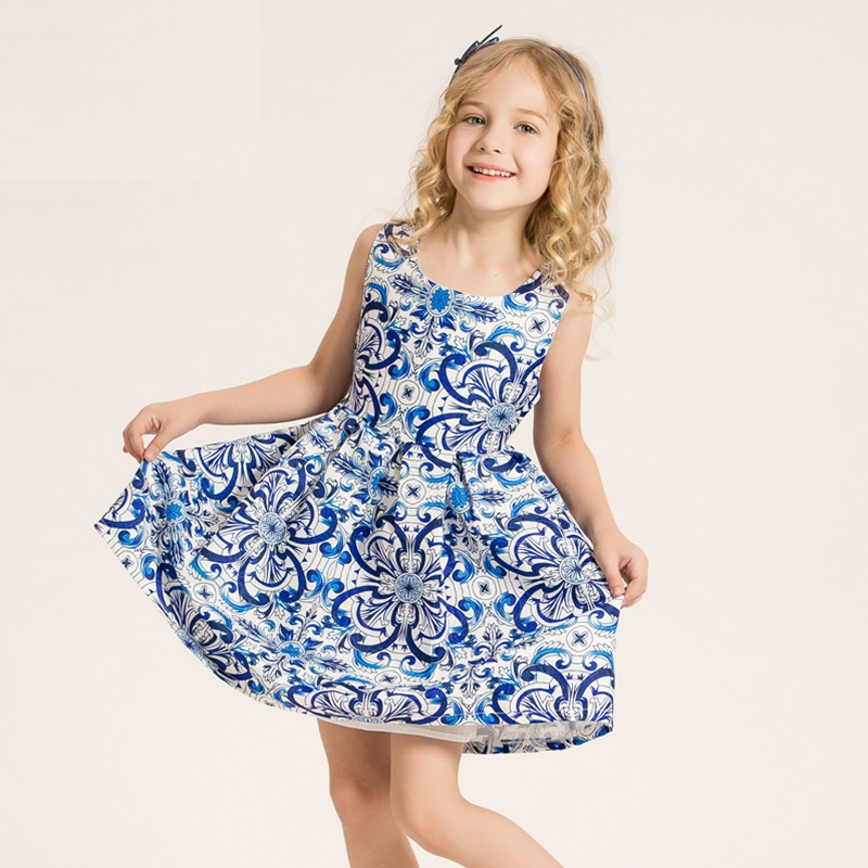 Dress Girl Floral Print Dresses Princess Party Clothes Children Clothing kids dresses for girls vestido infantil menina 3-14Y <br><br>Aliexpress