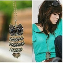 1pcs Free Shipping Jewelry, Ancient Bronze Owl pendant Necklace, gem Ancient the Owl Sweater Chain