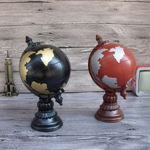 Creative Globe Tellurian Pattern Resin Saving Box Novel Household Decoration Art Work 2 Colors(China)