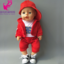 "Red Hooded Clothes pants shirt fit for 43cm Zapf Baby Born Dolls boy Clothes for 18"" american girl doll suit(China)"