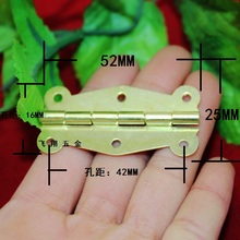 52*25MM Yellow-plated hinges  Wooden boxes lace hinge  Butterfly Hinge  180 degree hinge strip  6 hole hinge Wholesale