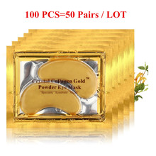 100pcs(50packs) Crystal Collagen Gold Powder Eye Mask Crystal Eye Mask Top Quality Anti Aging Eyelid Patch Moisture Crystal
