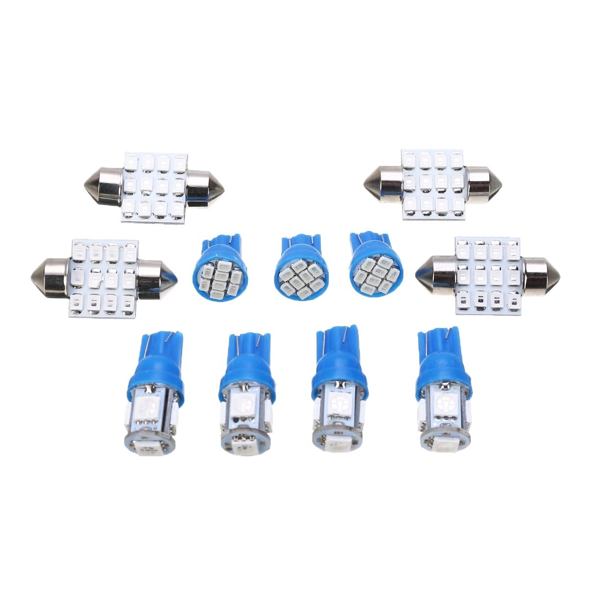 11pcs/set 12V W5W Blue LED T10 31mm Car Festoon Interior Dome Map Tag Light Lamp Bulb Kit Universal