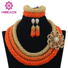 Delicate 3 Layers Gold Coral Nigerian Wedding African Beads Jewelry Set Dubai Coral Beads Bridal Christmas Jewelry Set WB840(China)