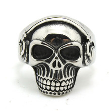 1pc New Arrival Mens Boy Cool Skull Wearing Headphones Ring 316L Stainless Steel Factory Price Ring(China)