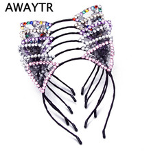 2017 Women Girls Black Lace Cat Ears Headband Hairbands Head Band Self Photo Prop Hair Accessories Crystal Headwear for Women(China)