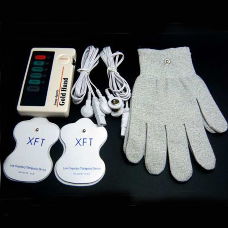 XFT-502 Low Frequency Therapeutic TENS Massage Electrical Stimulator Therapy Massager With Conductive Gloves &amp; 4 electrode Pads<br>