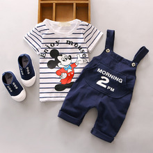 Minnie Mouse Set For Children Boy Overall clothing Summer Girl's Clothing Sets Printed Cartoon T-shirt With Braces Trousers Sets(China)