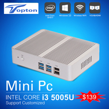Intel CPU Barebone  Mini PC Windows 10 Core i3 5005U Fanless PC Win 7/8/10 Max 2.6GHz Speed with HDMI Gigabit Lan