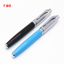 Retro style Baoer 100 Silver hat Blue And Black Finance office Fine Nib Fountain Pen New(China)
