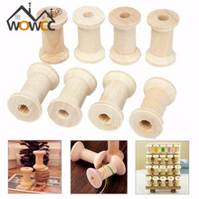 Modern Practical 20Pcs Vintage Style Wooden Bobbins Spools Reels Organizer For Sewing Ribbons Twine Wood Crafts Tools