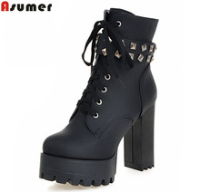 ASUMER 큰 size 2018 popular classic 두꺼운 힐 round toe ankle boots sexy 플랫폼 (high) 저 (힐 solid lace up women 부츠(China)