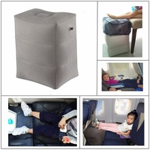 Newest Flocking Airplane Pillow Inflatable Travel Footrest Pillow Flight Pillow For Kids Sleeping Easy Folding Free Shipping(China)