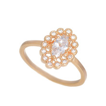 SHUANGR 2015 Simple Classic Gold Color Finger Band Clear Cubic Zirconia Crystal Princess Ring Jewelry For Women