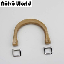 5 pairs=10 pieces,10.4X8cm small wooden handle natural color wood handles 2pieces Chrome buckles for ladies bag purse handle