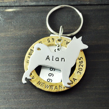 Personalized Akita Dog Tag, Pet ID Tags, Hand Stamped Engraved Alloy Akita tag, Customized Name & Address, Phone Number