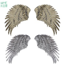 1pair Gold/Sliver Sequins Feather Wings Patches For Clothes Party Motif Badges Embroidered DIY Ornaments Sewing Accessories(China)