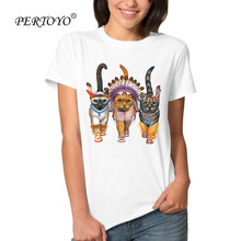 PERTOYO Women Summer Novelty THE CHIEF CAT Design Female T Shirt Vintage The Indians Cat Print Tops Hot Sales Tee Shirts