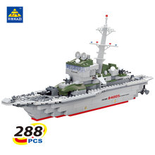 KAZI 228pcs Military Ship Model Building Blocks Kids Toys Imitation Gun Weapon Equipment Technic Designer toys for kid(China)