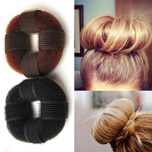 1 pcs Fashion Women Magic Blonde Donut Hair Ring Bun Former Shaper Hair Styler Maker Tool 2 color(China)